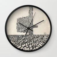 borderlands Wall Clocks featuring Borderlands by Andre Rocha Illustration