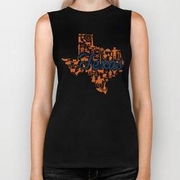 UT Austin Texas Landmark State - Blue and Orange UT Theme Biker Tank