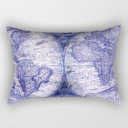 World Map Antique Vintage Navy Blue Rectangular Pillow