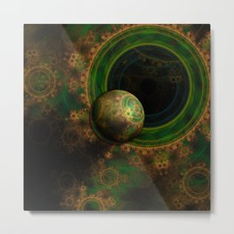 TikTok's Four-Dimensional Steampunk Time Contraption Metal Print