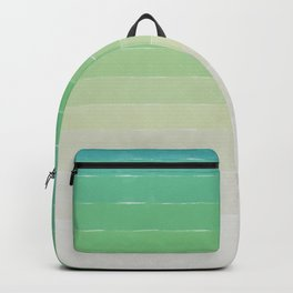 Shades of Ocean Water - Abstract Geometric Line Gradient Pattern between See Green and White Backpack