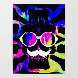 old vintage funny skull art portrait with painting abstract background in pink blue yellow green Poster