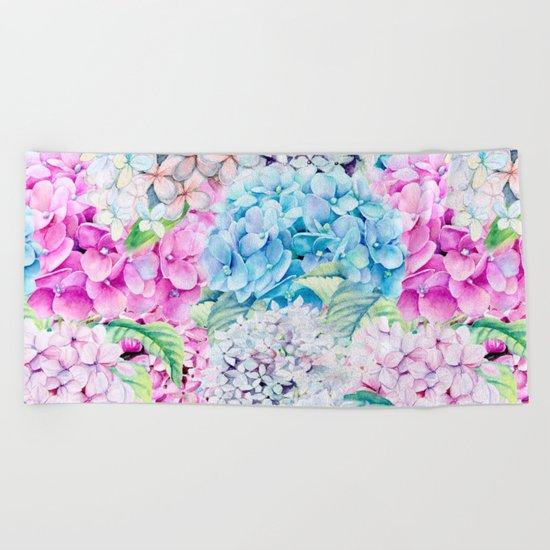 Multicolor Watercolor Hydrangea dream pattern Beach Towel