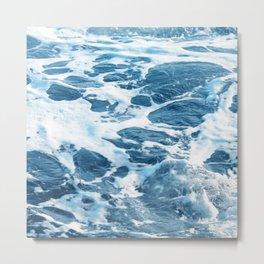 Foamy Ocean Surf Waves In Turquoise & Indigo Blue Metal Print