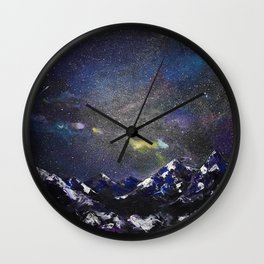 Mountains in night Wall Clock