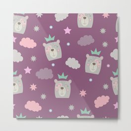 Bear Princess surrounded by clouds and stars Metal Print