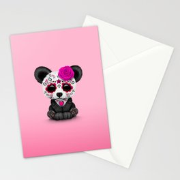 Pink Day of the Dead Sugar Skull Panda Stationery Cards