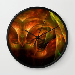 Abstract colorful lightning fractal Wall Clock