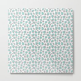 Leopard Animal Print Aqua Blue Gray Grey Spots Metal Print