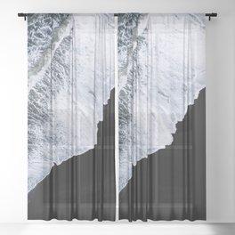 Waves crashing on a black sand beach – minimalist Landscape Photography Sheer Curtain