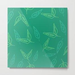 Leafy: Teal Metal Print