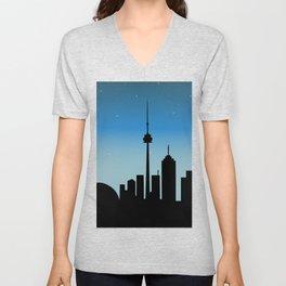 Toronto Skyline - Night Unisex V-Neck