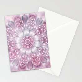 Dreams Mandala in Pink, Grey, Purple and White Stationery Cards