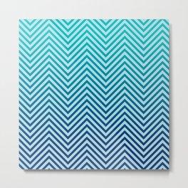 Seafoam Ocean Blue Ombre Wave Metal Print