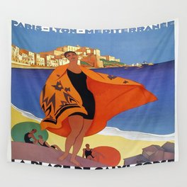 Vintage poster - La Plage de Calvi, La Corse, France Wall Tapestry
