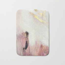 Sunrise [2]: a bright, colorful abstract piece in pink, gold, black,and white Bath Mat
