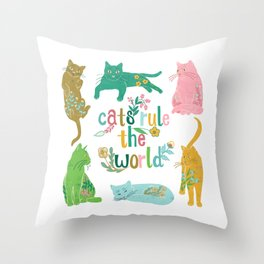 Cats Rule The World Throw Pillow