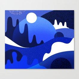 Terrazzo landscape blue night Canvas Print