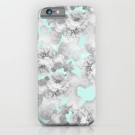 Vintage black white teal stylish chic roses floral iPhone Case