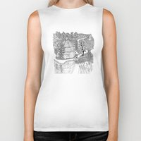 vermont Biker Tanks featuring Vermont Round Barn, Waitsfield Vermont by Vermont Greetings