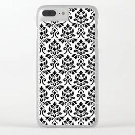 Feuille Damask Pattern Black on White Clear iPhone Case