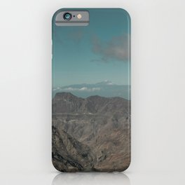 View of the snowy Teide volcano seen from Gran Canaria island iPhone Case
