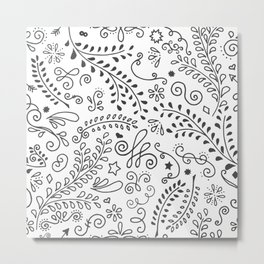 Floral Swirls - Black and White (Edition 2) Metal Print