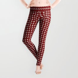 Dark Christmas Candy Apple Red Houndstooth Check Leggings