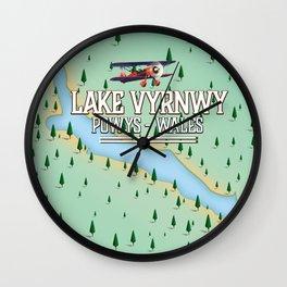 Lake Vyrnwy Wales travel poster print Wall Clock
