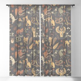 Egyptian house guardians | black Sheer Curtain