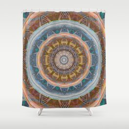 Rose Coral Rust Gentle Peach Glow Earth Boho Mandala Shower Curtain