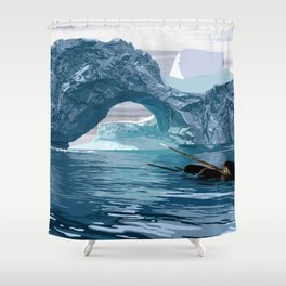 Narwhales ans icebergs Shower Curtain