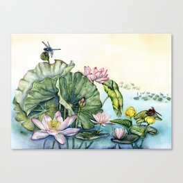 Japanese Water Lilies and Lotus Flowers Canvas Print