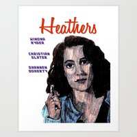heathers Art Prints featuring Heathers by AdrockHoward