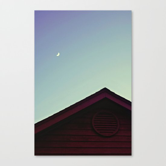 The Moon and The Red House Canvas Print
