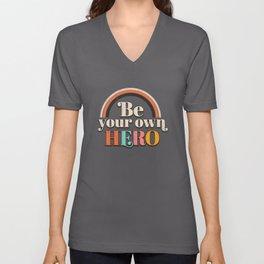 Be Your Own Hero Retro Feminism Unisex V-Neck