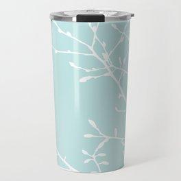 Magnolia Tree Pastel Blue Travel Mug