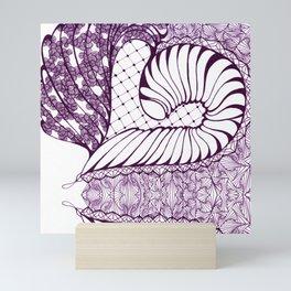 Purple Art Deco Doodle Design Mini Art Print