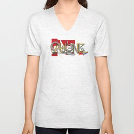 QUONE ABSTRACT Unisex V-Neck