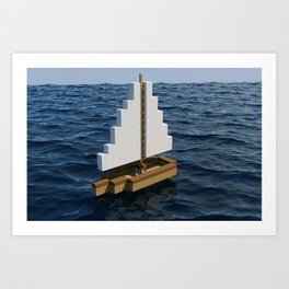 Mine craft boat on the ocean Art Print