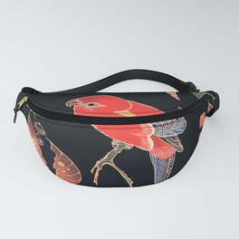 Vintage Illustration Of A Red Parrot On A Branch Fanny Pack