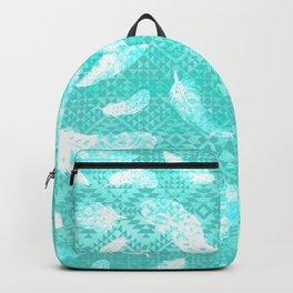 Aztec Turquoise Boho Feathers Backpack