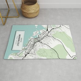 Honolulu Hawaii City Map with GPS Coordinates Rug