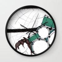 drum Wall Clocks featuring Drum Man by Meagan Harman