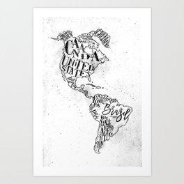 Map America vintage Art Print