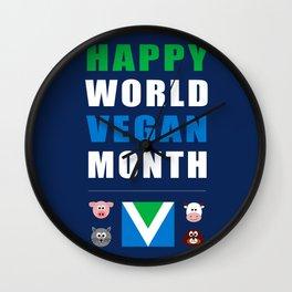 Happy World Vegan Month Wall Clock
