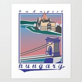 Budapest, Bridge, vintage colors Art Print