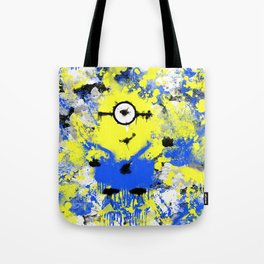 Splatter Painted Minion  Tote Bag