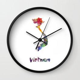Vietnam in watercolor Wall Clock