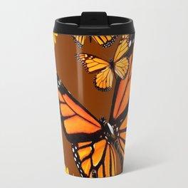 MONARCH BUTTERFLIES & GOLDEN SUNFLOWERS ON COFFEE BROWN Travel Mug
